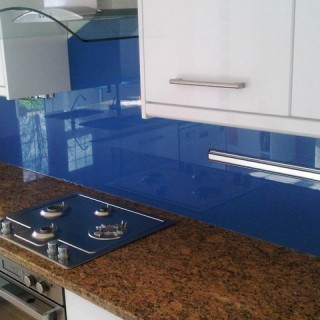 Bright Blue Glass Splashback
