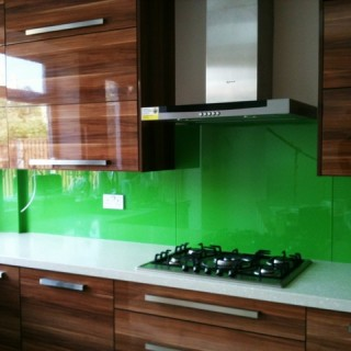 Bright Green Glass Splashback