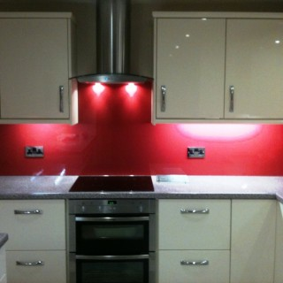 Bright Red Kitchen Glass Splashback