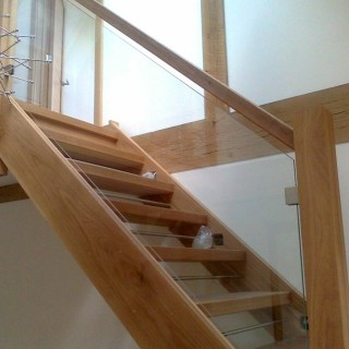 Balustrades with wooden newel posts & square clamps