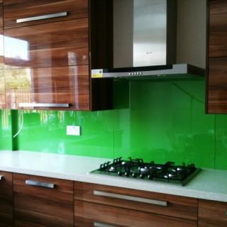Bright Green Glass Splashback