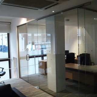 Glass Office partitions close up